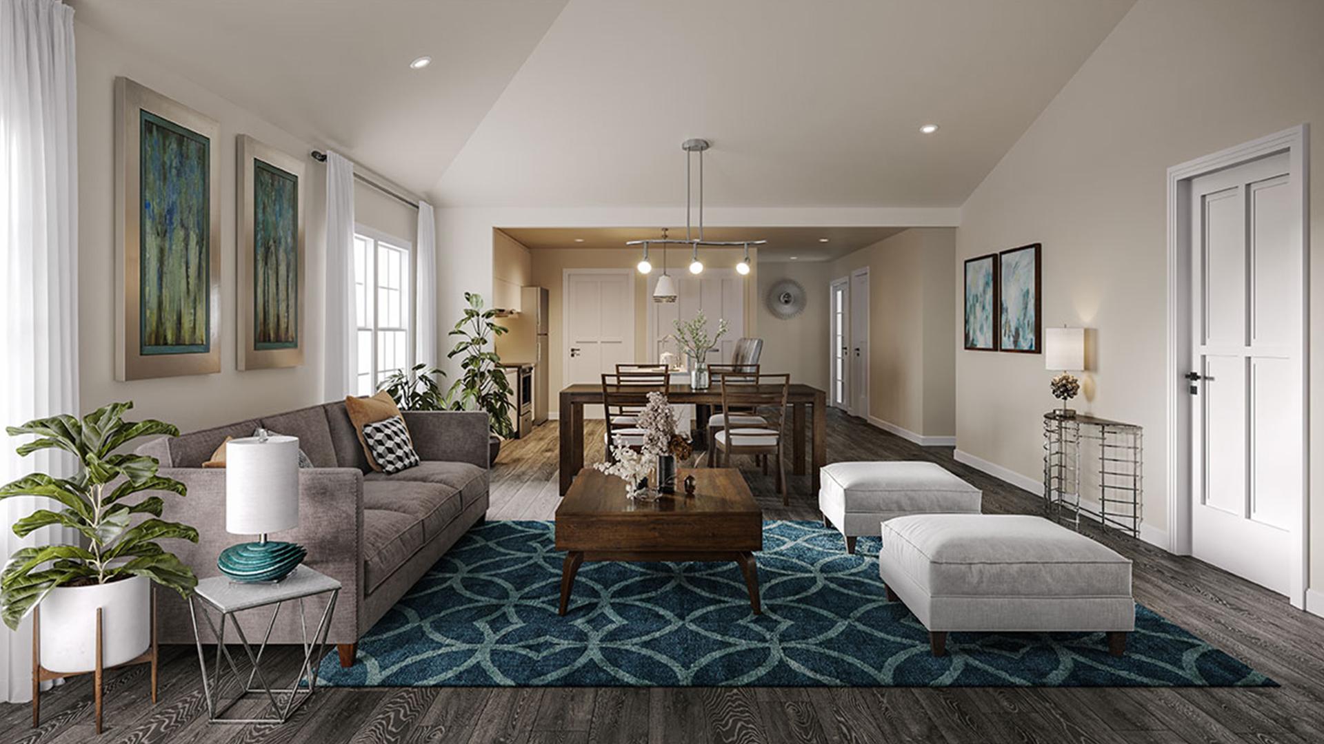 living room at orland ridge townhomes and villa